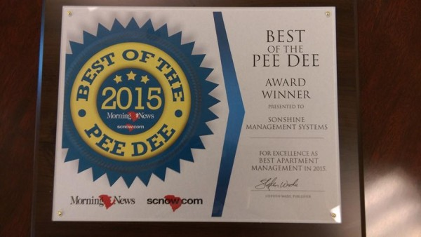 Best of the Pee Dee 2015 - Sonshine Management Systems, Inc. - Best Apartment Management